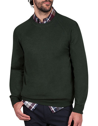 Haggar Heritage Raglan Sleeve Sweater-GREEN-Large