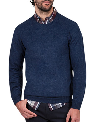Haggar Heritage Raglan Sleeve Sweater-NAVY BLUE-Small