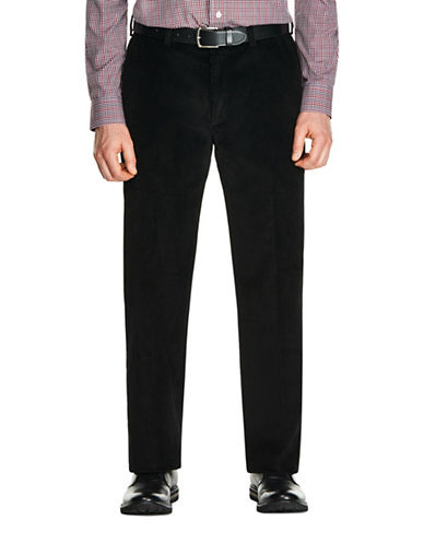 Haggar 8 Wale Classic Cotton Corduroy Pants-BLACK-38X30