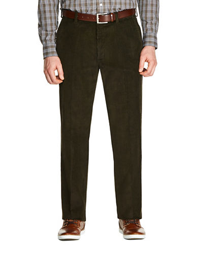 Haggar 8 Wale Classic Cotton Corduroy Pants-DARK GREEN-34X32