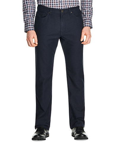 Haggar Heritage Two Tone Brushed Straight-Fit Twill Pants-NAVY-34X30