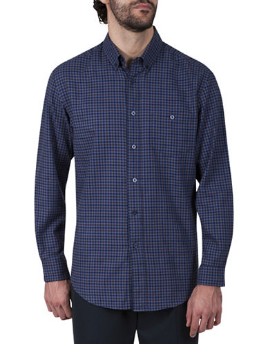 Haggar Twill Plaid Cotton Button-Down Shirt-BLUE-Small