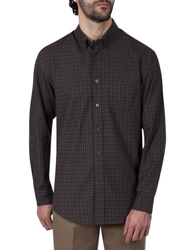 Haggar Twill Plaid Cotton Button-Down Shirt-BROWN-Medium