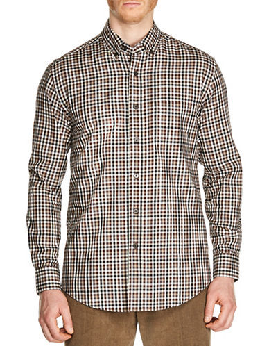 Haggar Gingham Cotton Sport Shirt-BROWN-Small