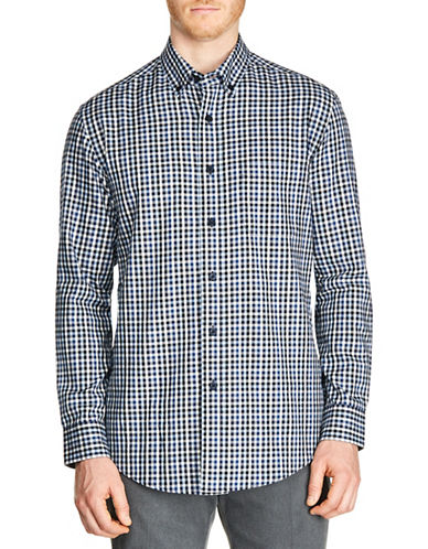 Haggar Gingham Cotton Sport Shirt-NAVY-Small