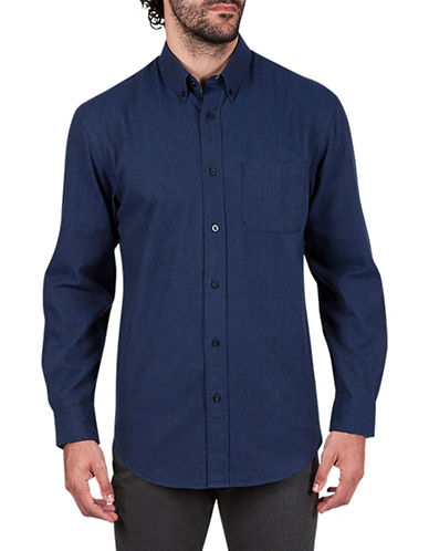 Haggar Flannel Cotton Sportshirt-BLUE-Small