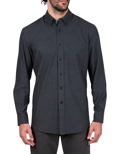 Haggar Flannel Cotton Sportshirt-GREY-X-Large