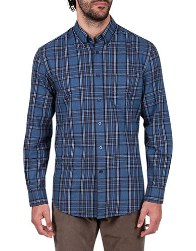 Haggar Flannel Plaid Cotton Sportshirt-BLUE-Large