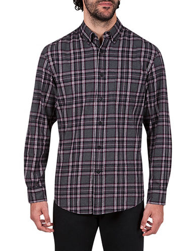 Haggar Flannel Plaid Cotton Sportshirt-RED-X-Large