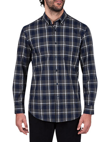 Haggar Flannel Plaid Cotton Sportshirt-BLUE-Medium