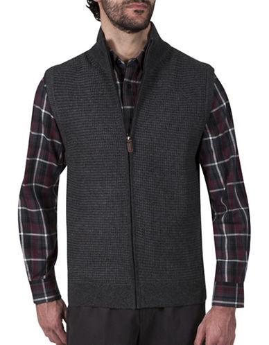 Haggar Zip Front Sweater Vest-CHARCOAL-Large