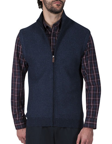 Haggar Zip Front Sweater Vest-NAVY-Small