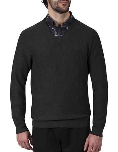 Haggar Pearl Knit V-Neck Cotton Sweater-GREY-Large