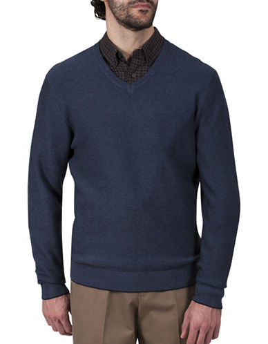 Haggar Pearl Knit V-Neck Cotton Sweater-NAVY-Medium