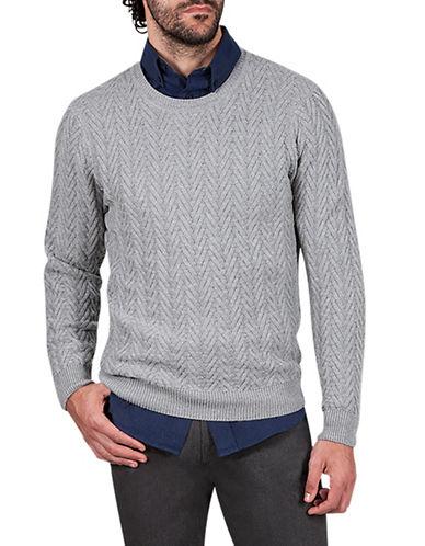 Haggar Heritage Chevron Wool-Blend Sweater-GREY-X-Large
