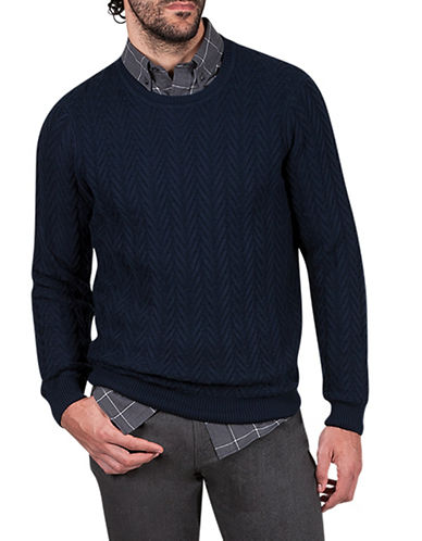 Haggar Heritage Chevron Wool-Blend Sweater-BLUE-Small