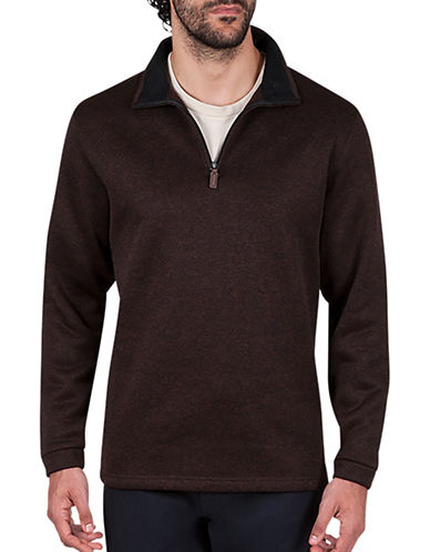 Haggar Quarter-Zip Sweatshirt-BROWN-Small