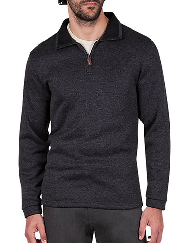 Haggar Quarter-Zip Sweatshirt-CHARCOAL-X-Large