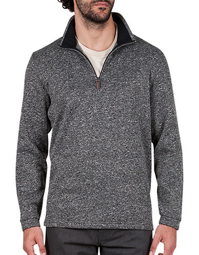 Haggar Quarter-Zip Sweatshirt-GREY-Small