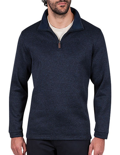 Haggar Quarter-Zip Sweatshirt-NAVY BLUE-Large