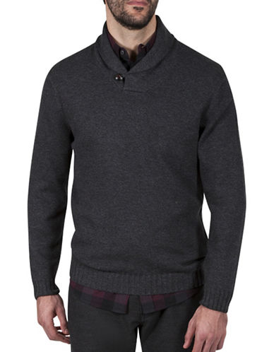 Haggar Heritage Wrap Neck Shawl Collar Sweater-CHARCOAL-Small