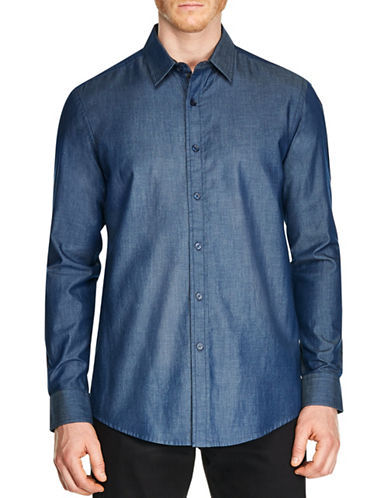 Haggar Heritage Regular-Fit Cotton Casual Button-Down Shirt-BLUE-Small