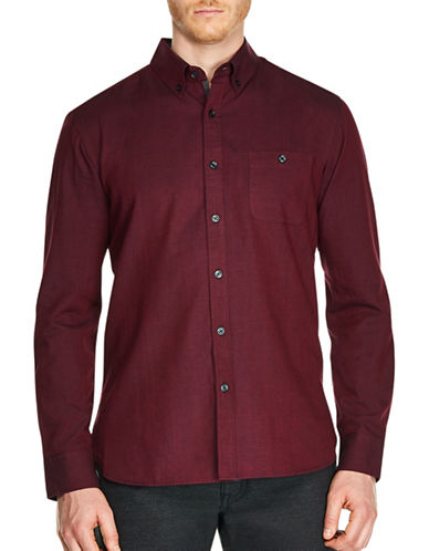 Haggar Heritage Regular-Fit Brushed Cotton Casual Button-Down Shirt-BURGUNDY-Small