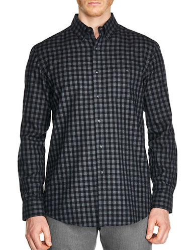 Haggar Heritage Regular-Fit Printed Brushed Cotton Casual Button-Down Shirt-BLACK-Medium