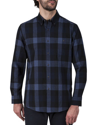 Haggar Heritage Flannel Buffalo Cotton Sport Shirt-BLUE-X-Large
