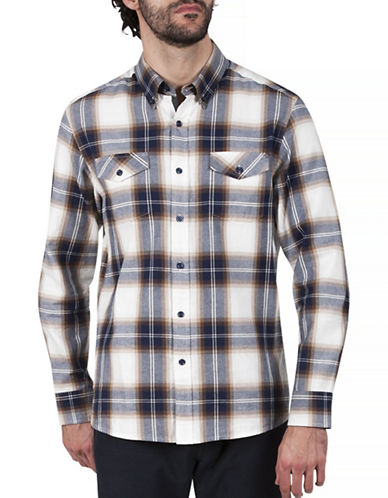 Haggar Heritage Flannel Cotton Sport Shirt-BEIGE-Large