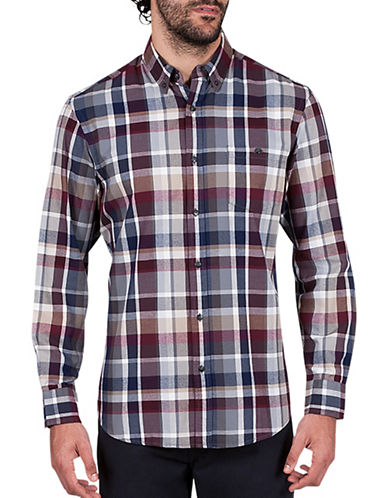Haggar Heritage Flannel Plaid Cotton Sportshirt-GREY-X-Large