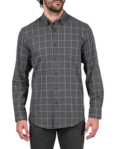 Haggar Heritage Brushed Checkered Cotton Sportshirt-GREY-Medium