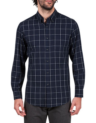 Haggar Heritage Brushed Checkered Cotton Sportshirt-BLUE-Large
