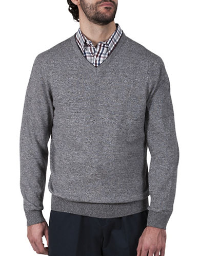 Haggar V-Neck Cotton Sweater-GREY-X-Large