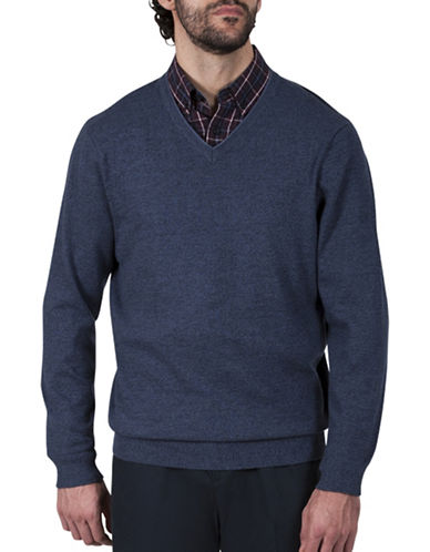 Haggar V-Neck Cotton Sweater-NAVY-Small