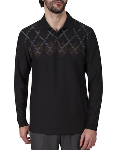 Haggar Argyle Jacquard Polo-BLACK-Small