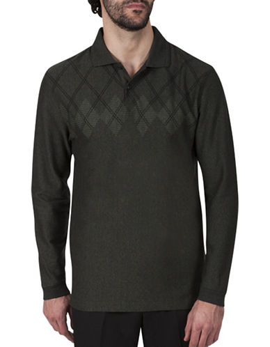 Haggar Argyle Jacquard Polo-DARK GREEN-Medium