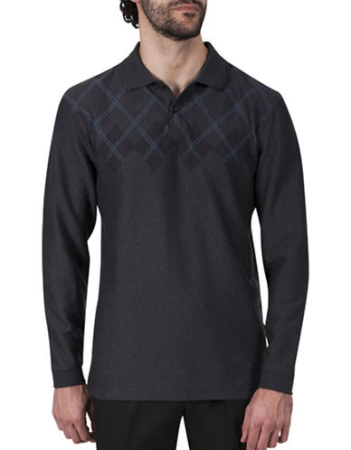 Haggar Argyle Jacquard Polo-GREY-X-Large
