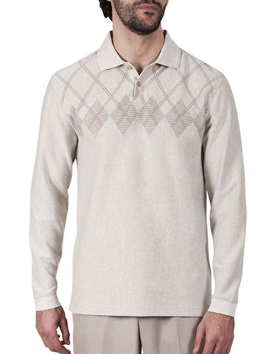 Haggar Argyle Jacquard Polo-OATMEAL-Medium