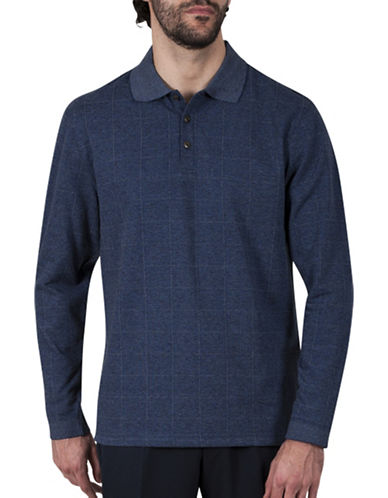 Haggar Windowpane Jacquard Polo-BLUE-X-Large