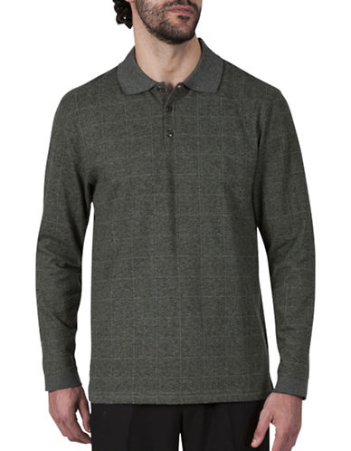 Haggar Windowpane Jacquard Polo-DARK GREEN-Medium