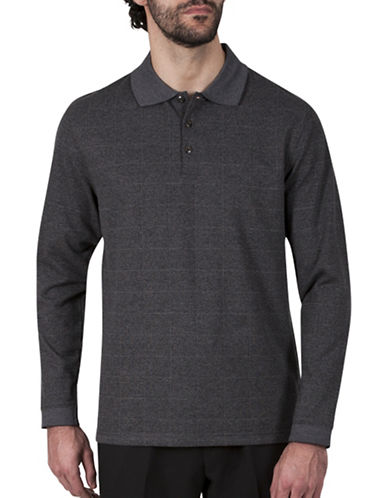Haggar Windowpane Jacquard Polo-CHARCOAL-Large
