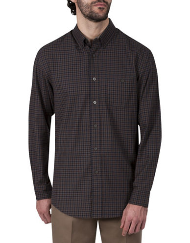 Haggar Big and Tall Check Cotton Sport Shirt-BROWN-2X Tall
