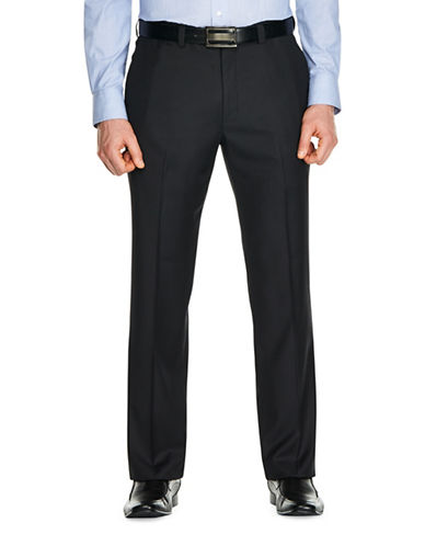 Haggar Mini Check Dress Pants-BLACK-36X30