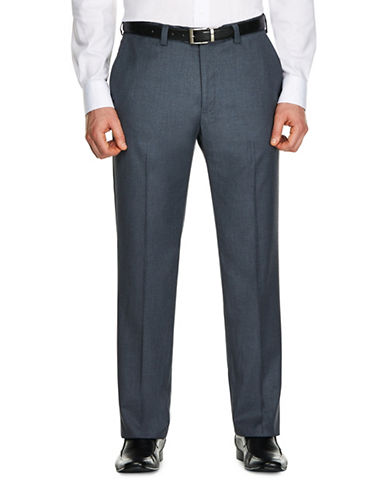 Haggar Mini Check Dress Pants-GREY-32X30