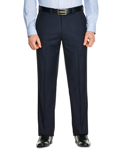 Haggar Mini Check Dress Pants-NAVY BLUE-34X32
