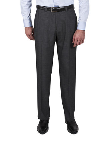 Haggar Tonal Check Dress Pants-GREY-40X30