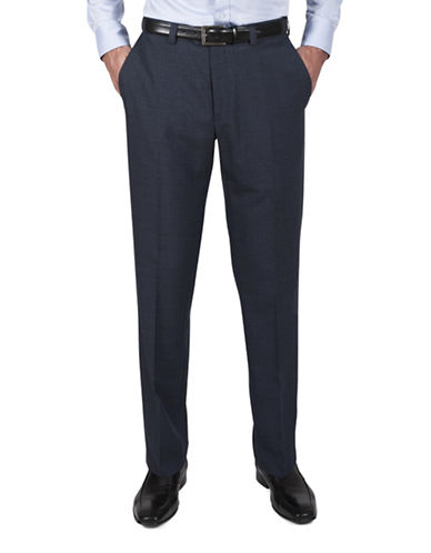 Haggar Tonal Check Dress Pants-BLUE-34X30