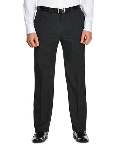 Haggar Tonal Plaid Straight-Fit Dress Pants-GREY-34X32