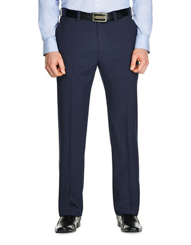 Haggar Tonal Plaid Straight-Fit Dress Pants-NAVY BLUE-36X30